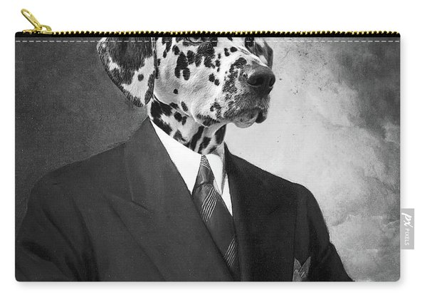 Portrait Of A Dalmatian Dog In A Black Suit Carry-all Pouch