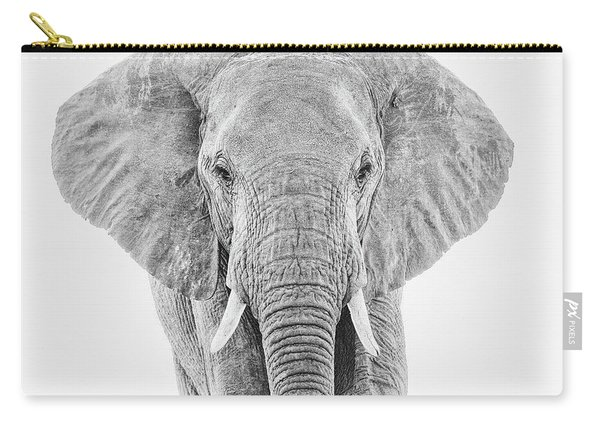 Portrait Of An African Elephant Bull In Monochrome Carry-all Pouch