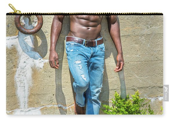 Portrait Of  Young Black Fitness Guy Carry-all Pouch