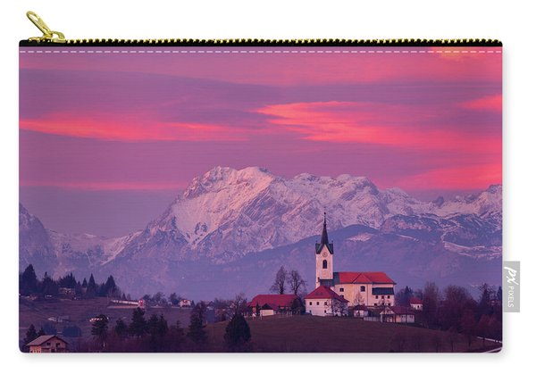 Prezganje Church With Snowy Kamnik Alps At Sunset Carry-all Pouch