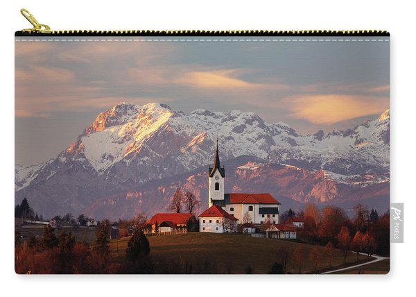 Prezganje Church With Snowy Kamnik Alps In The Background. Carry-all Pouch