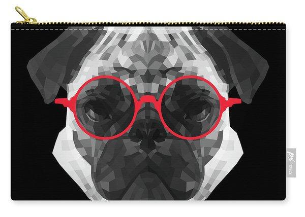 Pug In Red Glasses Carry-all Pouch