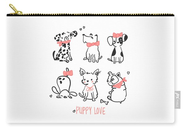 Puppy Love - Baby Room Nursery Art Poster Print Carry-all Pouch