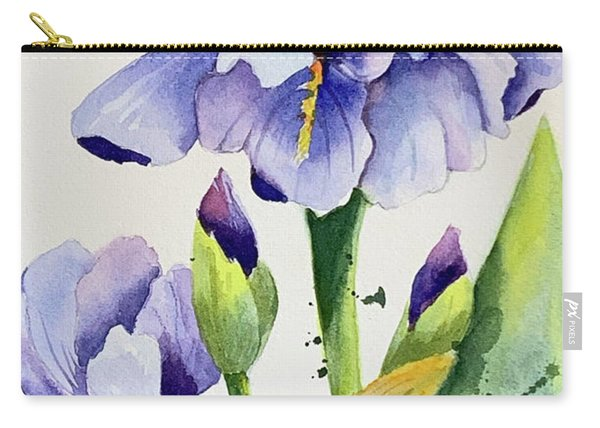 Purple Iris And Buds Carry-all Pouch