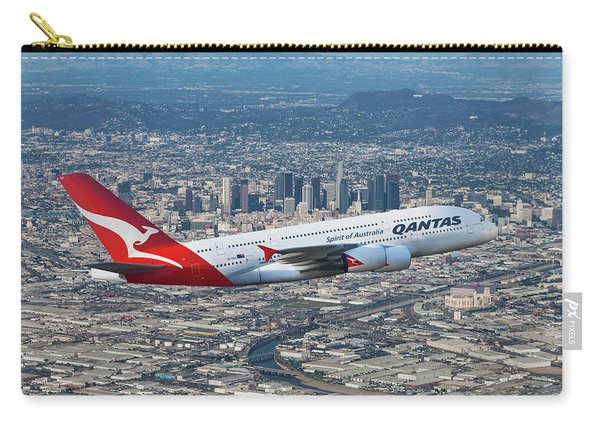 Qantas Airbus A380 Over Los Angeles Carry-all Pouch
