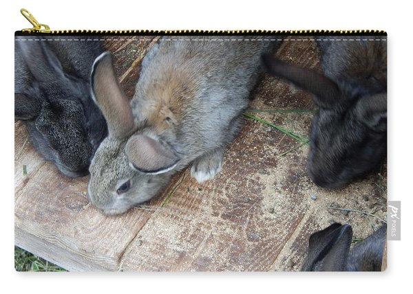 Rabbits In An Open-air Cage Growing On A Farm Carry-all Pouch