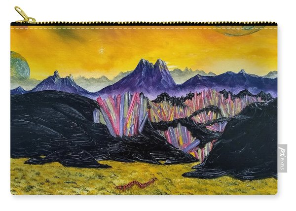 Carry-all Pouch featuring the painting Rainbow Fries And Centipedes Somewhere In The Multiverse by Kevin Daly