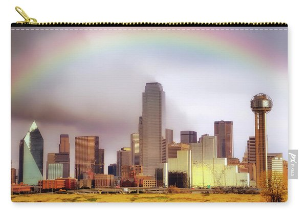 Rainbow Over Downtown Dallas - Dallas Skyline - Texas Carry-all Pouch