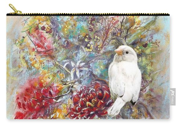 Carry-all Pouch featuring the painting Rare White Sparrow - Portrait View. by Ryn Shell