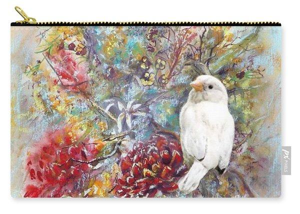 Rare White Sparrow - Portrait View. Carry-all Pouch