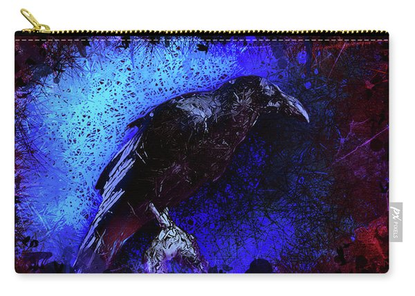 Carry-all Pouch featuring the mixed media Raven by Al Matra