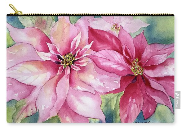 Red And Pink Poinsettias Carry-all Pouch