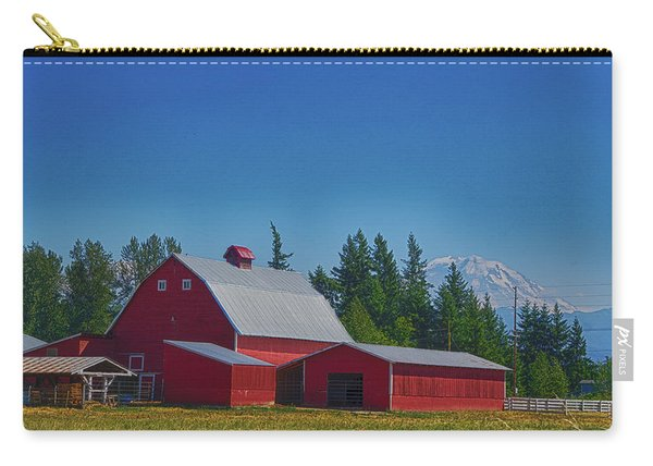 Red Barn With Mount Rainier Carry-all Pouch