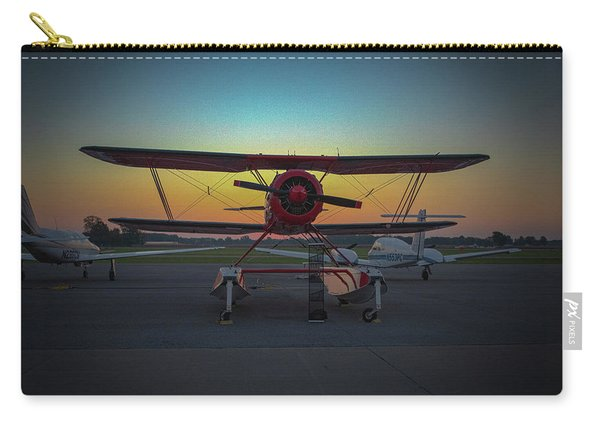 Red Biplane At Dawn Carry-all Pouch