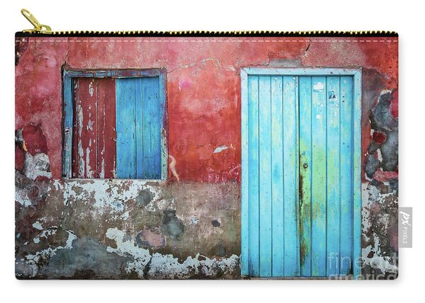 Red, Blue And Grey Wall, Door And Window Carry-all Pouch