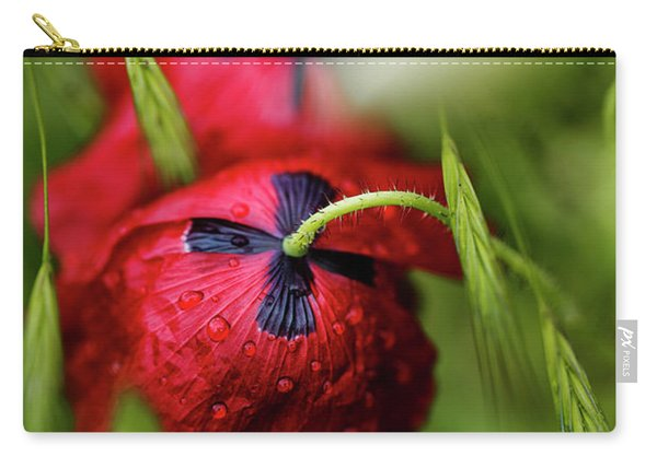 Red Corn Poppy Flowers With Dew Drops Carry-all Pouch