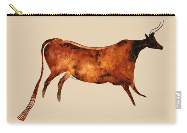 Red Cow In Beige Carry-all Pouch