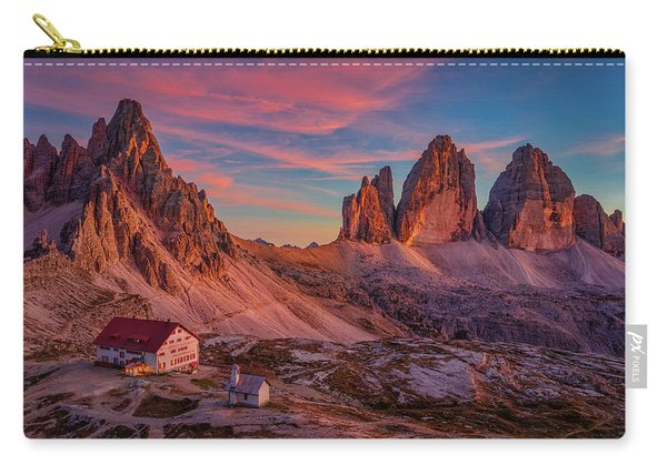 Carry-all Pouch featuring the photograph Red Evening On Tre Cime Di Lavaredo by Dmytro Korol