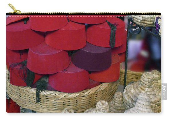 Red Fez Tarbouche And White Wicker Tagine Cookers Carry-all Pouch