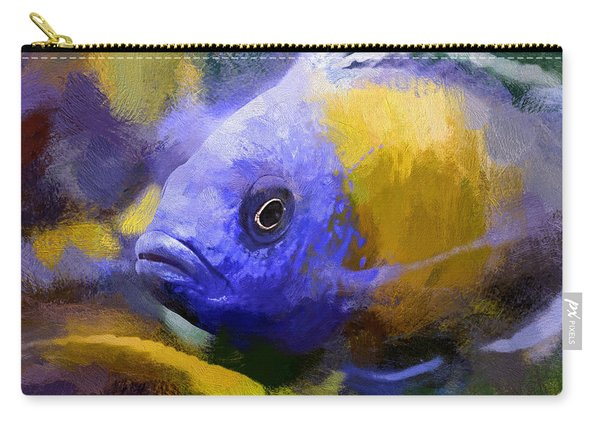 Carry-all Pouch featuring the digital art Red Fin Borleyi Cichlid Artwork by Don Northup