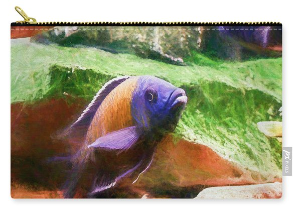Carry-all Pouch featuring the digital art Red Fin Borleyi Cichlid Rising by Don Northup