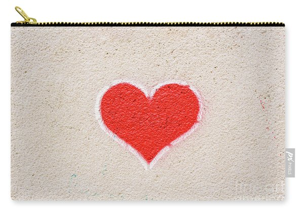 Red Heart Painted On A Wall, Message Of Love. Carry-all Pouch