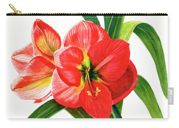 Red Orange Amaryllis Square Design Carry-all Pouch