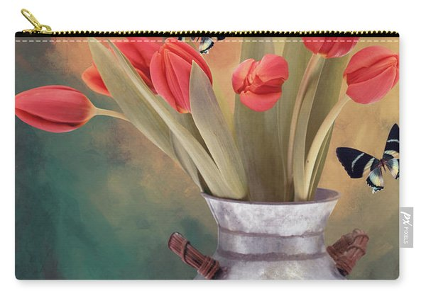 Red Tulips With Butterflies Carry-all Pouch
