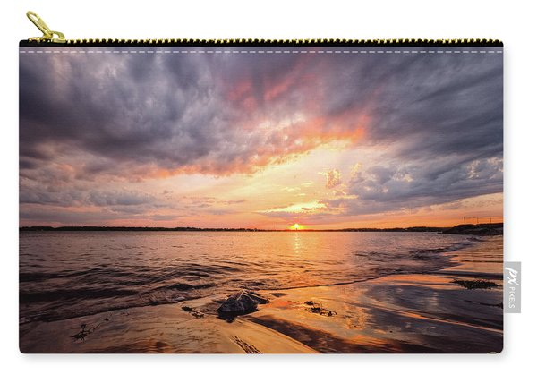 Carry-all Pouch featuring the photograph Reflect The Drama, Sunset At Fort Foster Park by Jeff Sinon