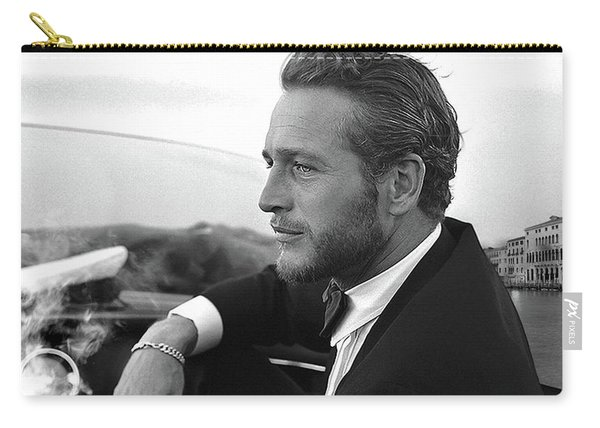 Reflecting, Paul Newman, Movie Star, Cruising Venice, Enjoying A Cuban Cigar, Black And White Carry-all Pouch
