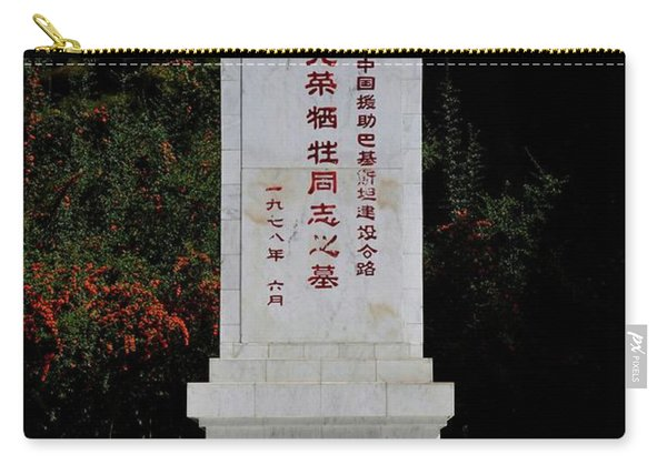 Remembrance Monument With Chinese Writing At China Cemetery Gilgit Pakistan Carry-all Pouch