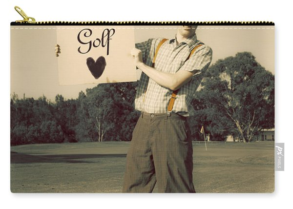 Retro Golfer Holding Golf Love Sign Carry-all Pouch