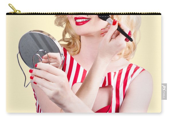 Retro Pin-up Woman Doing Beauty Make-up Carry-all Pouch
