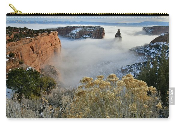 Rim Rock Drive View Of Fogged Independence Canyon Carry-all Pouch