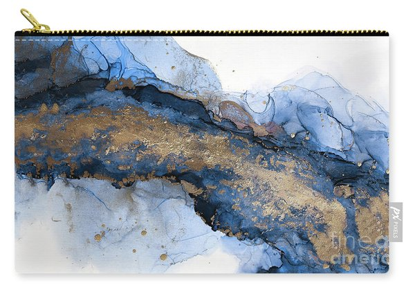 River Of Blue And Gold Abstract Painting Carry-all Pouch