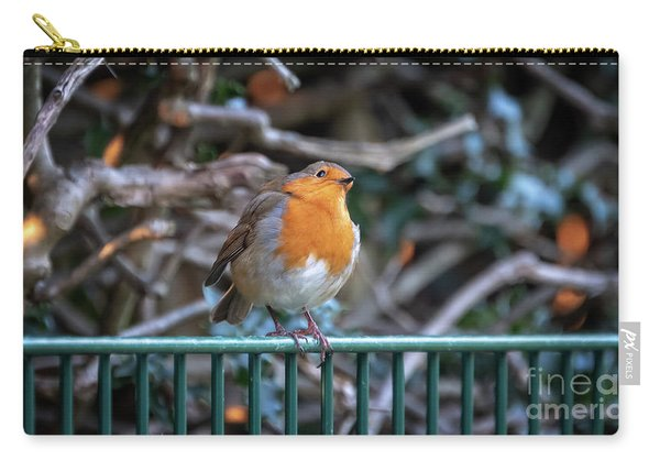 Robin Perched On A Rail Carry-all Pouch