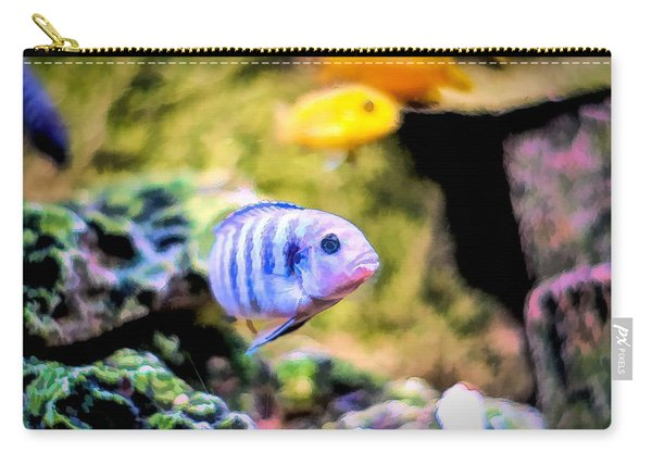 Carry-all Pouch featuring the digital art Rock Cichlid Blue Zebra by Don Northup