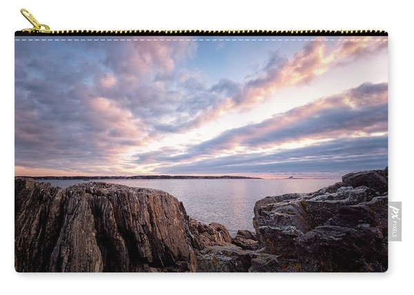 Carry-all Pouch featuring the photograph Rocky Coast At Daybreak . by Jeff Sinon