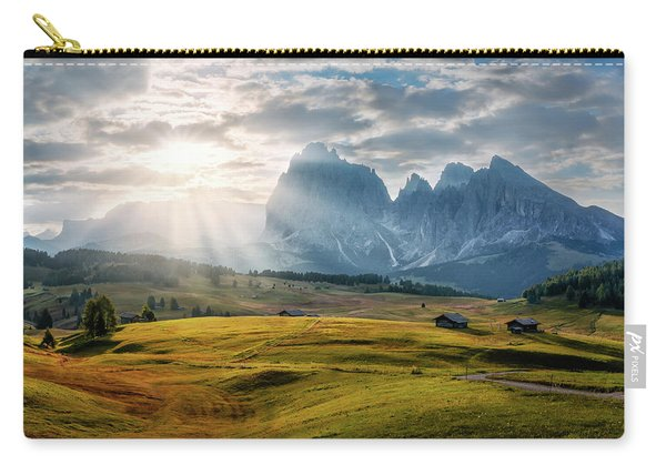 Carry-all Pouch featuring the photograph Rolling Hills Of Alpe Di Siusi by Dmytro Korol