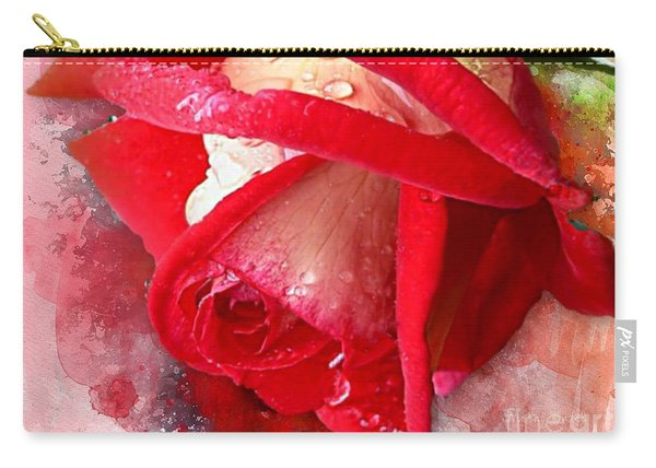 Rose And Water Drops Carry-all Pouch