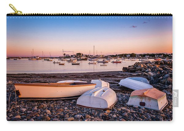 Carry-all Pouch featuring the photograph Rowboats At Rye Harbor, Sunset by Jeff Sinon