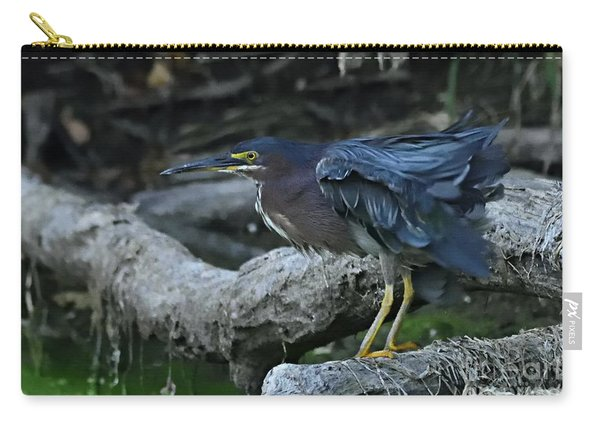 Ruffled Green Heron Carry-all Pouch