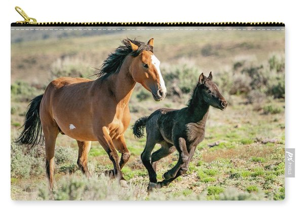 Running Wild Mustangs - Mom And Baby Carry-all Pouch