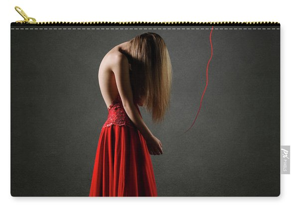 Sad Woman In Red Carry-all Pouch