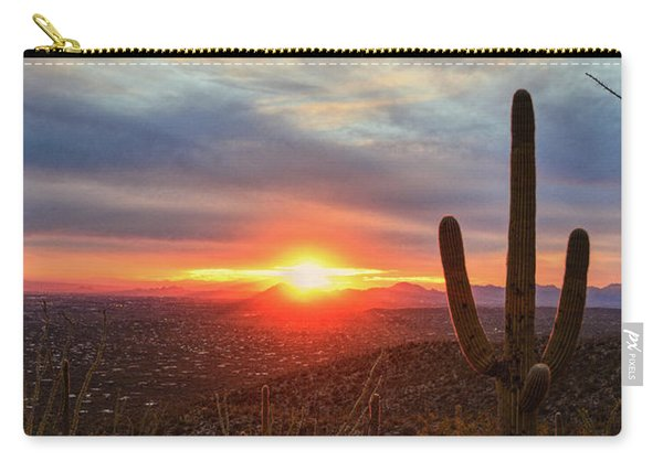 Saguaro Cactus And Tucson At Sunset Carry-all Pouch