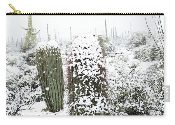 Carry-all Pouch featuring the photograph Saguaro In The Snow by Jean Clark