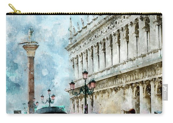 Saint Theodore Sculpture At Saint Mark Square In Venice, Italy - Watercolor Effect Carry-all Pouch