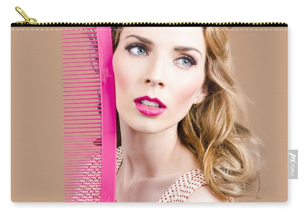 Salon Pin Up Woman With Elegant Hair Style Carry-all Pouch