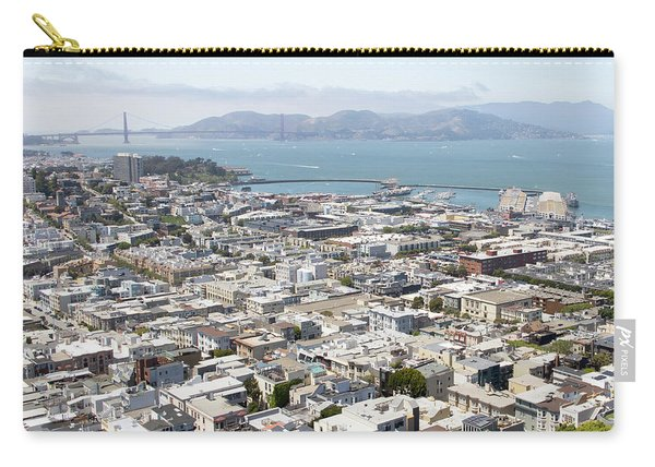 San Francisco Cityscape Panorama West View With Golden Gate Bridge Fishermans Wharf Pier 39 R605 Sq Carry-all Pouch