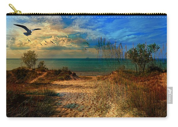 Sand Track To The Ocean At Dusk Carry-all Pouch